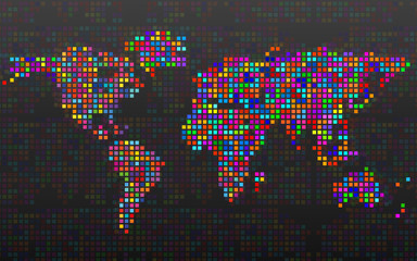 Abstract world map from colorful pixels. Vector