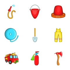 Protection from fire icons set. Cartoon illustration of 9 protection from fire vector icons for web