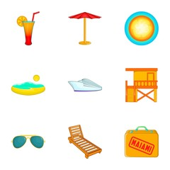 State of Miami icons set. Cartoon illustration of 9 state of Miami vector icons for web