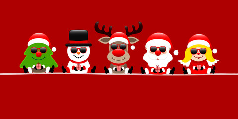 Fototapete - Banner Tree, Snowman, Rudolph, Santa & Angel Sunglasses Gift Red