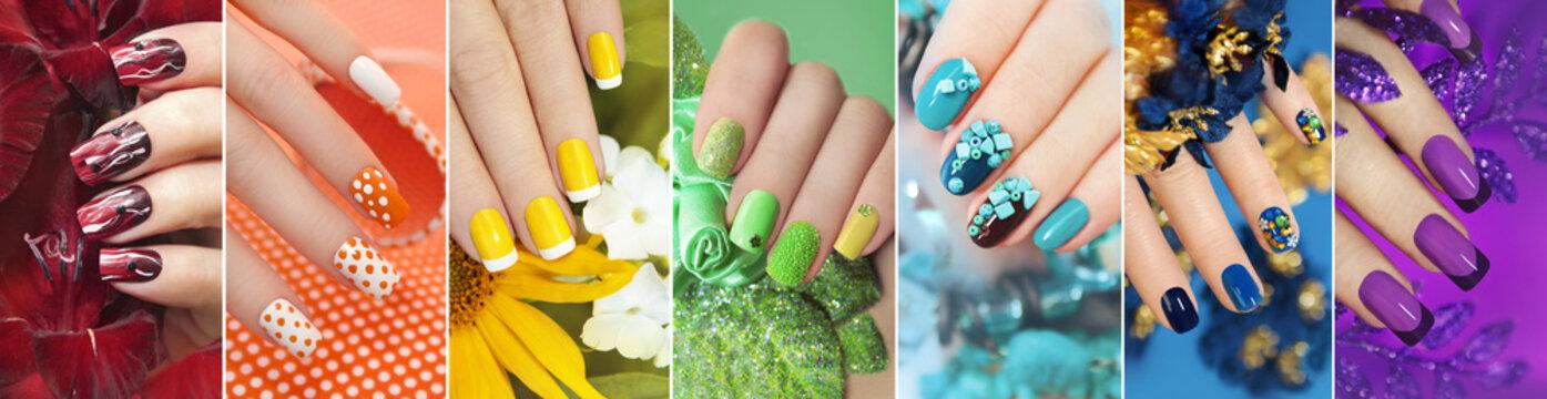 Радужная коллекция из дизайна для ногтей.