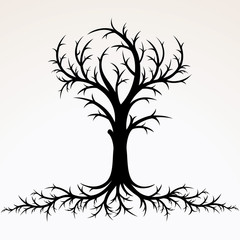 Tree with Root Silhouette. Vector