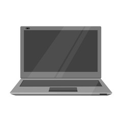Laptop icon in monochrome style isolated on white background. Personal computer symbol stock vector illustration.