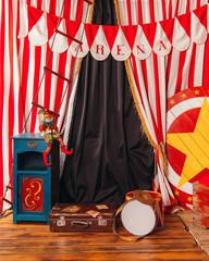 arena circus clown drum suitcase