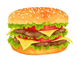Big burger on white background