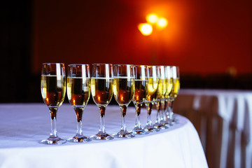 Glasses of champagne on the table at luxurious wedding ceremony