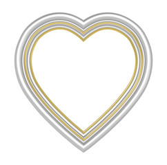 Silver gold heart picture frame isolated on white. 3D illustration.