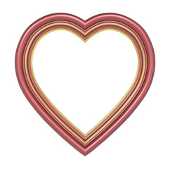 Red gold heart picture frame isolated on white. 3D illustration.