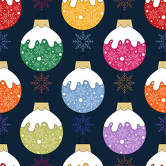 Christmas and New Year pattern.Seamless vector background with colorful toys.Holiday textile texture.Fabric print