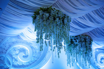 beautiful decoration of flowers in blue tones for wedding ceremony