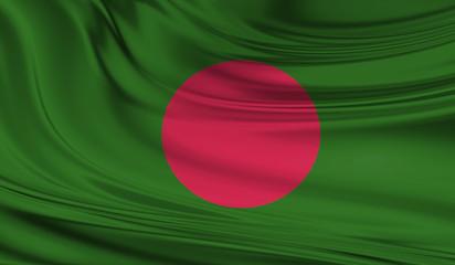 National waving flag of Bangladesh on a silk drape