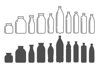 Plastic and glass bottles, containers. Silhouettes vector illustration.