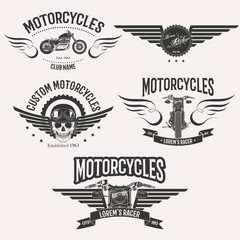 Vintage custom motorcycle racer stars logo set isolated on white background