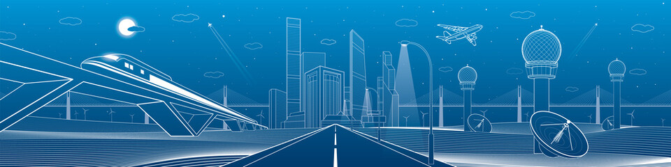 Infrastructure panorama. Highway, train traveling on bridges, business center, architecture and urban, neon city, radar and tower, white lines on blue background, dynamic scene, vector design art