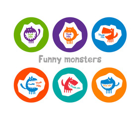 logos with funny monsters