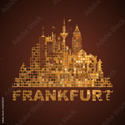 Mosaik Frankfurt frankfurt deutschland city silhouette gold kacheln mosaik