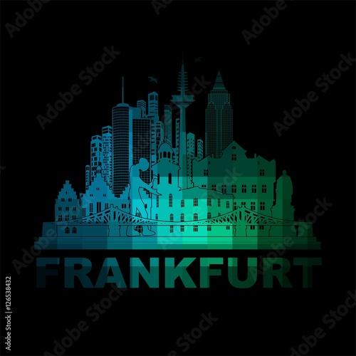 Mosaik Frankfurt frankfurt panorama bei nacht skyline abends mosaik bunt wandtatoo