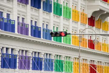 Das farbenfrohe Hill Street Building in Singapur