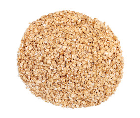 Pile of oat flakes premium quality isolated on white background. Close up, top view, high resolution product
