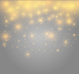 White sparks and golden stars glitter special light effect. Sparkling magic dust particles