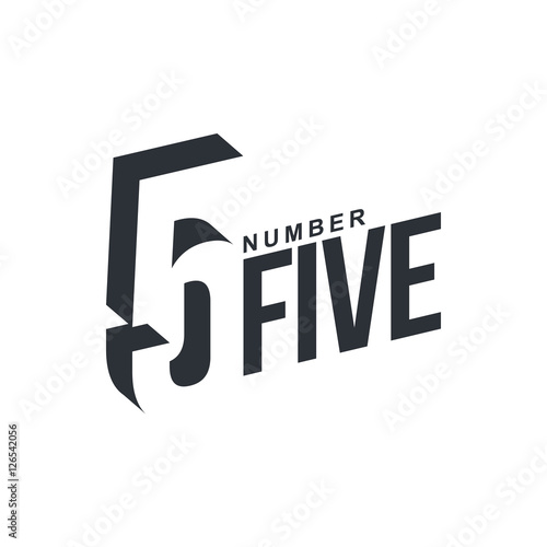"""Black and white number five diagonal logo template ..."