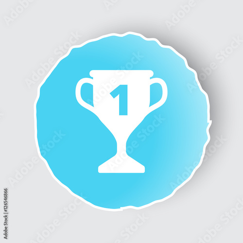 Blue App Button With Trophy Icon On White