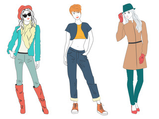 Beautiful young woman lady models in casual modern fashion clothes isolated. Flat sketch line girls people set.