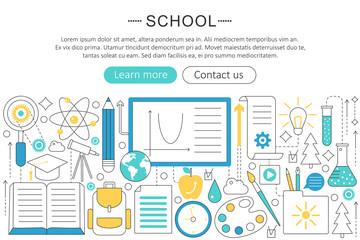 Vector elegant thin line flat modern design back to school colledge concept. Website header banner elements layout. Presentation, flyer and poster.