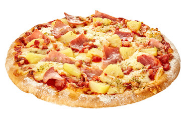 Pizza Hawaii with ham and pineapple isolate on white background