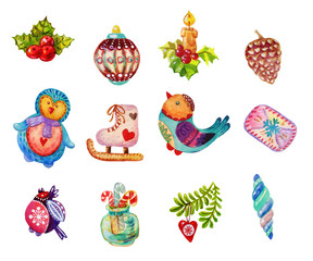 Christmas Watercolor icons, elements collections and illustrations. Christmas and New Year holiday Icons and colorful watercolor illustration set