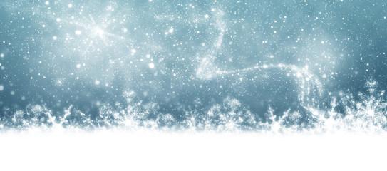 Weihnachtshintergrund, Weihnachtskarte, Schneesterne, Banner,
