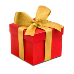 Rotes Geschenk mit goldener Schleife als Freisteller