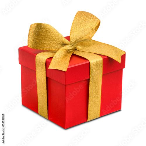 rotes geschenk mit goldener schleife als freisteller. Black Bedroom Furniture Sets. Home Design Ideas