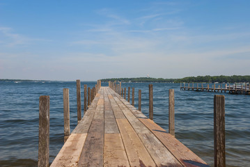 Pier on Lake Spirit at bright summer day, Arnolds Park, Iowa, USA