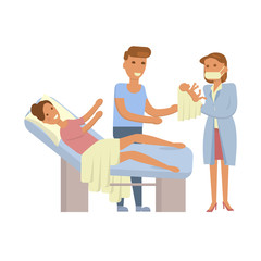 The process of giving birth concepts set. Woman during childbirth, family in the maternity ward, obstetrician is delivering a child. Vector illustration for infographic