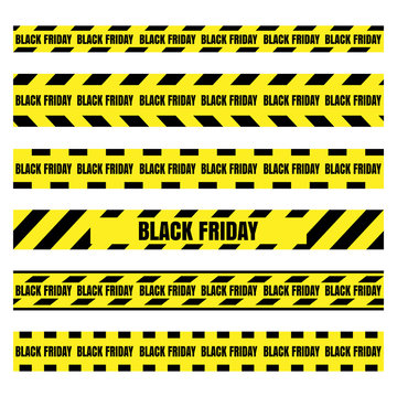 Black Friday sale set horizontal banner for the site. Vector illustration of a road sign and yellow ribbons.