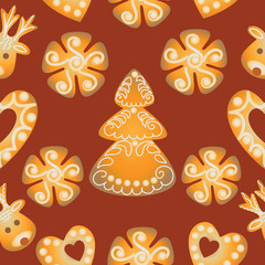 Christmas  Gingerbread. Seamless pattern. Design for textile, wrapping paper.
