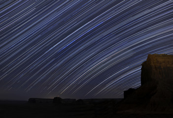 View of star trail at night