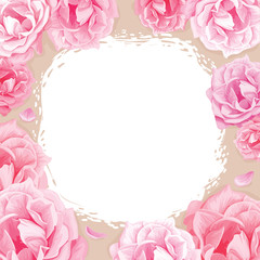 pink roses on a beige background