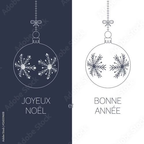 French christmas and new year greeting card with textured christmas french christmas and new year greeting card with textured christmas balls and text duotone france m4hsunfo Images