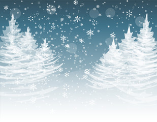 Christmas, New Year. The stylized image of spruce trees on a winter day. Snow in winter forest. Snowflakes. illustration