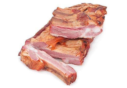 Smoked pork ribs on white