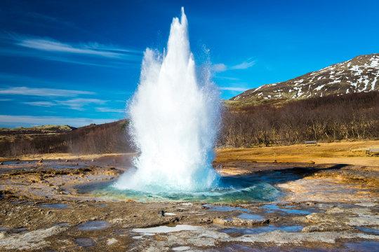 Strokkur geysir eruption, Golden Circle, Iceland