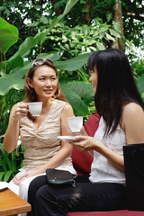Two women at outdoor garden cafe, having coffee