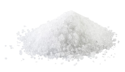 Pile of white rock salt on the white background. Wall mural