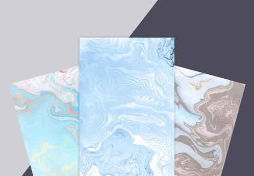 Three suminagashi marbled papers