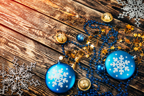 Christmas Decorations In Blue And Brown : Quot christmas decorations in blue and gold color on brown