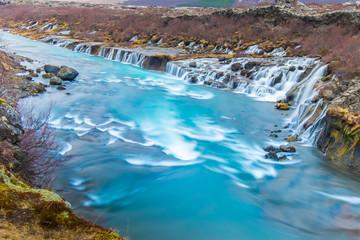 Hraunfossar and Barnafossar Waterfall in Iceland