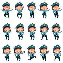 Set of police women flat icons2