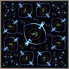Bandana art print vector illustration. Love eye in space.